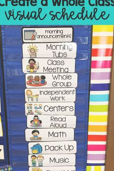 Individual visual schedules are a great tool to use with students with autism and kids who need special education in the elementary classroom Provide support to help kids. Special Education Schedule, Classroom Daily Schedule, Visual Schedule Autism, Kindergarten Schedule, Daily Schedule Cards, Visual Schedules, Special Education Classroom, Education College, Education City