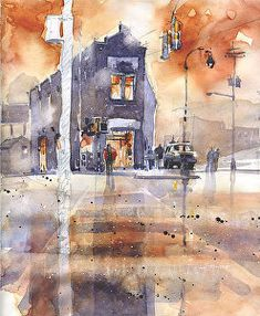 The Flatiron- EAV Atlanta by Iain Stewart Watercolor ~ 10 x 8 Watercolor Landscape, Watercolor Paintings, Watercolors, Watercolor Ideas, Traditional Paintings, Traditional Art, Building Sketch, Art Station, Flat Iron