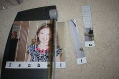 TOADally Tots: DIY Name Recognition Puzzle -- This idea could also be used for pictures of all kinds of things, with the word spelled out below. Preschool Names, Preschool Literacy, Early Literacy, Educational Activities, Classroom Activities, In Kindergarten, Preschool Activities, Teach Preschool, Infant Activities