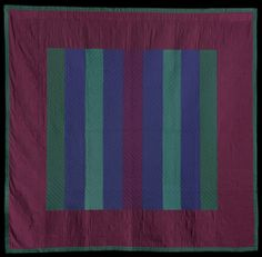"""Floating bar quilts are one of the simplest classic Amish designs, depicting bars that are meant to """"float"""" against the background, quilt scholars have recently traced this pattern back to Welsh and English immigrants who settled in Pennsylvania. """"Floating Bars,"""" about 1940, Amish; Lancaster County, Pennsylvania. On view in Quilts and Color. #quilt"""