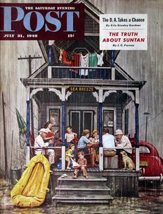 """1948 """"Rainy Day at Beach Rental"""" - Stevan Dohanos Art - 1940s Saturday Evening Post Cover - Family on Vacation with Grandparents"""