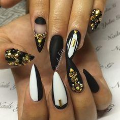 Matte black white gold stones stiletto nail art