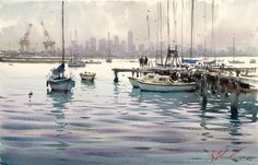 International Masters - Moored For The Evening - Watercolor by Joseph Zbukvic Extremely Large View