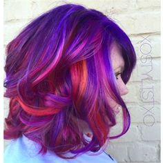 Purple dyed hair with pinky highlights Pretty Hair Color, Beautiful Hair Color, Hair Color Blue, Purple Hair, Hair Colors, Turquoise Hair, Neon Hair, Galaxy Hair Color, Purple Dye