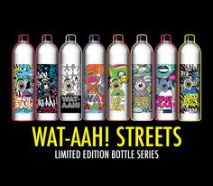 WAT-AAH! Taking Back the Streets is a campaign supporting Drink Up Initiative that enlisted 35+ street artists to create special water bottles & wall murals