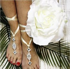 barefoot sandals, wedding - ivory - ribbon - rhinestones - crystal