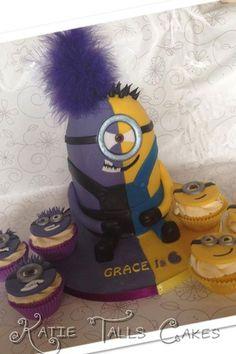 purple minion cupcakes - Google Search Too stinking cute!!!!!!!!!!!!