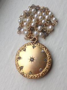 Antique Victorian Edwardian Repousse Swirl Gold Round Wedding Locket, Brillaint Stones, Monogram E, Labradorite Freshwater Pearl Chain
