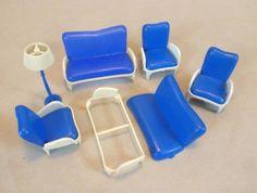 Vintage Dolls House Furniture - Kleeware Blue Soft Plastic Lounge Suite | eBay
