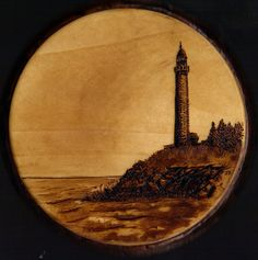 deviantART pyrography | Lighthouse Pyrography and Watercolor by JDunifer