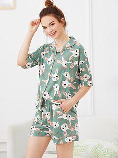 b2f1180399 Rabbit Print Polka Dot Pajama Set -SheIn(Sheinside) Pajama Suit
