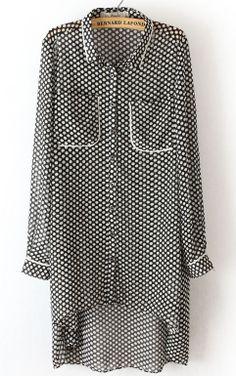 Black Long Sleeve Polka Dot High Low Chiffon Dress