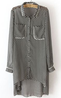 Black Long Sleeve Polka Dot High Low Chiffon Dress EUR€22.73
