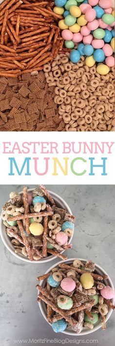 In less than 5 minutes you can whip up this Easter Snack Mix, aka Bunny Munch! … In less than 5 minutes you can whip up this Easter Snack Mix, aka Bunny Munch! A great treat for all guests, young and old, at your party. Easter Snacks, Easter Brunch, Easter Treats, Easter Recipes, Dessert Recipes, Easter Food, Easter Party, Recipes Dinner, Desserts For Easter