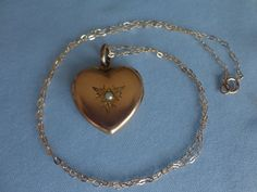"Antique Gold Filled Etched Heart Seed Pearl LOCKET & 18"" Chain 5.9 Grams"