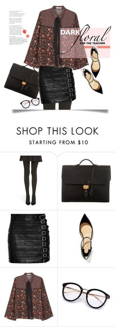 """""""Sweet / Edgy."""" by s-elle ❤ liked on Polyvore featuring Hue, Hermès, Gucci, Christian Louboutin, MANGO, Bamboo, contest, contestentry and darkflorals"""