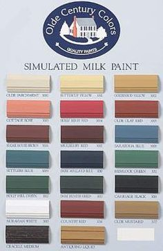 Historically, milk paints were formulated with buttermilk and berries, dried plants, roots or herbs to create natural colors. Primitive Paint Colors, Country Paint Colors, Paint Colors For Home, House Colors, Primitive Homes, Country Primitive, Milk Color, American Interior, American Paint