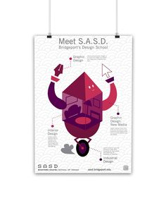 Mascot and poster design for the University of Bridgeport's Shintaru Akatsu School of Design. Design Programs, My Portfolio, Poster Making, New Media, School Design, High School, Branding, Graphic Design, Illustration