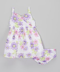 Another great find on #zulily! White Floral Tank Dress - Infant, Toddler & Girls by Real Love #zulilyfinds