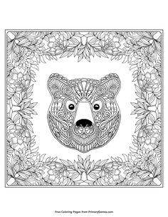 Ethnic patterned ornate hand drawn head of bear in decorative floral frame. Black and white doodle vector illustration. Coloring book for adult and older children. Coloring page. Fall Leaves Coloring Pages, Bear Coloring Pages, Online Coloring Pages, Adult Coloring Pages, Coloring Books, Animal Pictures To Color, Animal Pics, Black And White Doodle, Outline Drawings