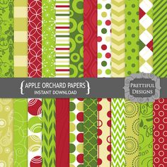 25% OFF SALE Digital Paper Pack - Personal and Commercial Use - Apple Orchard (776)