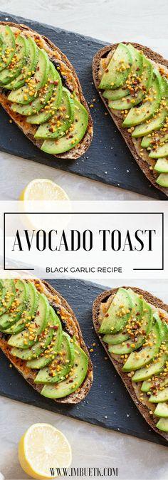 Avocado Toast with Black Garlic & Bee Pollen. Smokey, Lemon zesty & a sweet dash of bee pollen make this a super tasty twist.