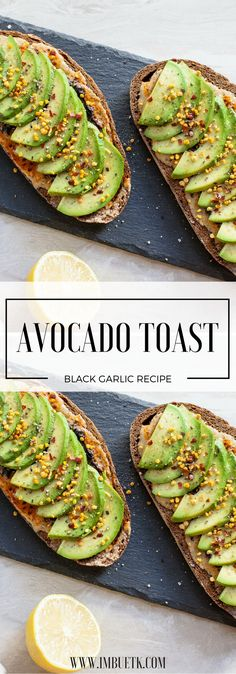 Gluten Free Avocado Toast with Black Garlic & Bee Pollen. Smokey, Lemon zesty & a sweet dash of bee pollen make this a super tasty twist. Dairy Free
