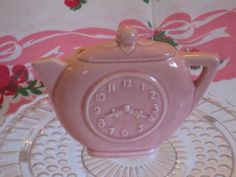 1950s Vintage Wall Pocket Pink Pottery TIME FOR TEA