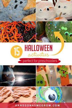15 super simple and fun Halloween preschooler activities! Sensory, gross motor, crafts Sensory Activities Toddlers, Halloween Activities For Kids, Gross Motor Activities, Outdoor Activities For Kids, Toddler Preschool, Preschool Activities, Halloween Crafts, Crafts For Kids, Halloween Games