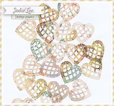 18 Shabby Florals Vellum Lace Heart DieCuts by Jodie Lee.