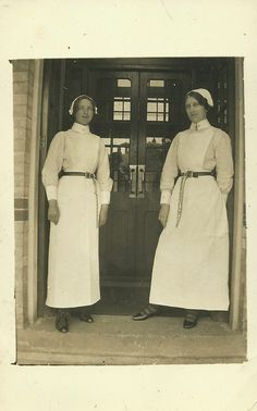 Two Asylum Nurses,Maidstone postmark.One has a whistle visible on her chain for summoning assistance if required