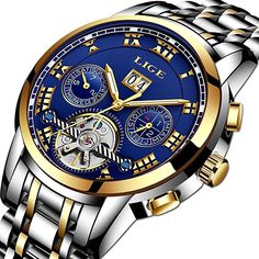 b5139e080 Watch Mens Hollow Automatic Mechanical Waterproof Sport LIGE Luxury Brand  Wristwatch Business Steel Tourbillon watches Roman pointer Gold Blue  ...