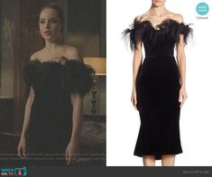 Fallon Carrington wears this black feathered off-the-shoulder Marchesa dress on Dynasty Dress Outfits, Dress Up, Fashion Outfits, Black Velvet Dress, Asian Fashion, Nice Dresses, Celebrity Style, Elizabeth Gillies, Gowns