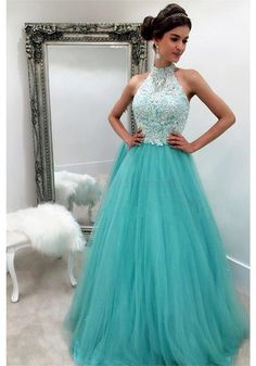 Halter Applique Long Tulle Prom Dresses Evening Dresses (ED1391)