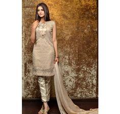 Pakistani Designer Dresses - Lowest Prices - Skin Embellished Dress by Lajwanti - Latest Pakistani Fashion