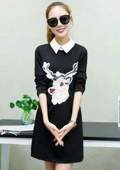 Buy Reindeer Contrast Lapel Shift Dress | mysallyfashion.com Malaysia