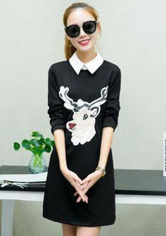 Buy Reindeer Contrast Lapel Shift Dress | mysallyfashion.com Malaysia