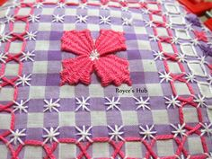 Royce's Hub: Gingham Embroidery: Stitches - Needle Weaving