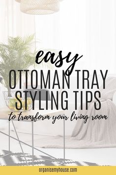 Create a gorgeous living room focal point with these ottoman tray styling ideas. A tray on an ottoman (or footstool or coffee table) can really enhance a rooms interior design, and this article will give you all the tips you need to create your own ottoman decor with ease. Have fun and I can't wait to see what you produce! Living Room Hacks, Living Room Storage, Ottoman Decor, Ottoman Tray, Tray Styling, Organisation Hacks, Room Interior Design, Homemaking, Living Room Designs