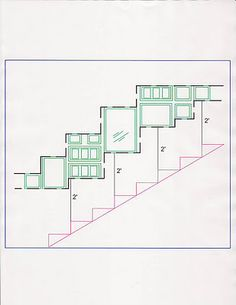 When making a collage going up a staircase keep in mind to mimic the staircase lines in your collage. Also make sure to measure on every second or third step the distance from the collage to the stair to make sure it has the same distance consistently.