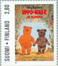 """""""Uppo-Nalle and the Ghost"""" by Elina Karjalainen - Type II Postage Stamp Art, Type I, Finland, Literature, Teddy Bear, Pictures, Animals, Culture, World"""