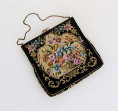 Vintage petit point purse made in Austria c.1930's small
