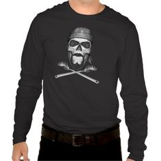 Black and white skull with goatee beard and wearing a chef's bandana with skull and crossbones print. Below are crossed pasta spoons as crossbones