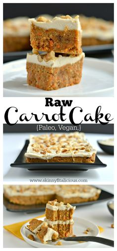 Paleo Raw Carrot Cake is a spin on a traditional favorite! Made with a carrot date and walnut base this delicious cake is topped with a silky cashew maple coconut icing that's surprisingly healthy and good for you. This is what carrot cake dreams are ma Cake Vegan, Raw Vegan Desserts, Raw Cake, Brownie Desserts, Raw Vegan Recipes, Vegan Dessert Recipes, Vegan Treats, Vegan Foods, Cake Recipes