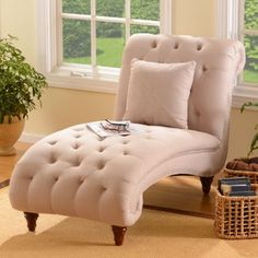 Tufted Linen Chaise Lounger