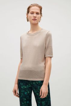 COS image 2 of Knitted pointelle top in Beige