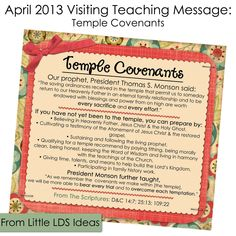 April 2013 Visiting Teaching Message Printable from Little LDS Ideas