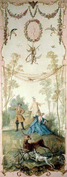 Jean-Baptiste OUDRY Paris, 1686 - Beauvais, 1755 Les Divertissements champêtres Ces cinq tableaux ont été commandés par Louis Fagon vers 1720-1723 pour orner le salon du château de Voré (Orne).