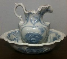 Ceramic Blue And White Oval Bowl Pitcher Set Fl Design