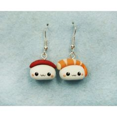 Sushi Kawaii, pendientes,earrings,fimo,japo,japan,comida,food,